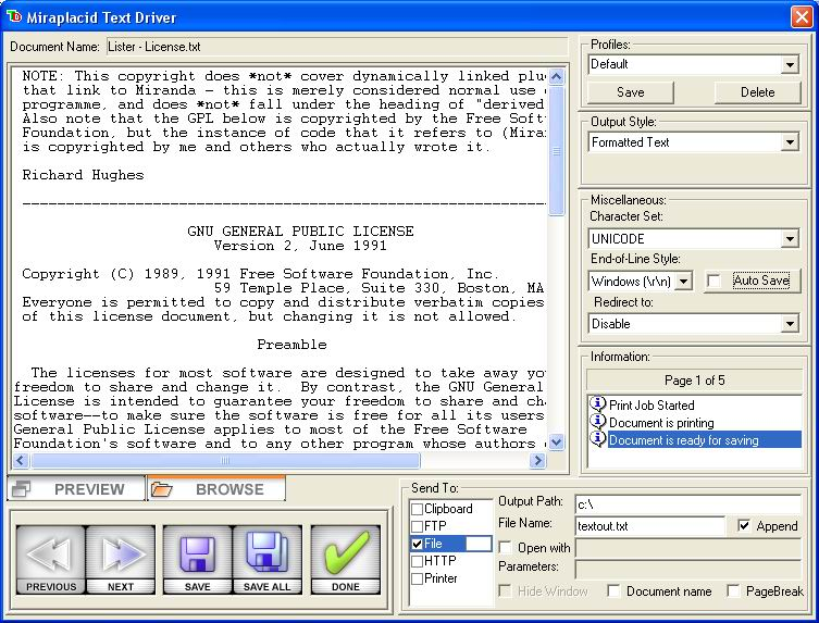 screenshot of Miraplacid Text Driver Terminal Edition